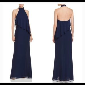 Laundry by Shelli Segal navy halter size 6 gown